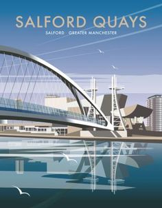 Salford Quays, Greater Manchester. By illustrator, Dave Thompson wholesale fine art print