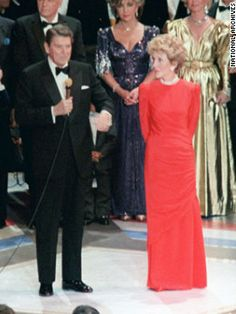 President and Nancy Reagan at the Hollywood-star-studded gala for his second inauguration in 1985.