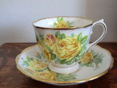 SALE Royal Albert Tea Rose. Yellow Rose by PrettyVintageHome