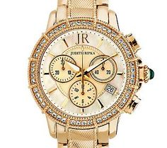 Judith Ripka Stainless Steel Chronograph Textured Watch with Diamonique
