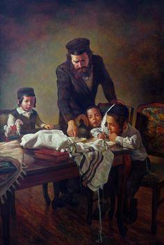 A father  teaches his children Torah