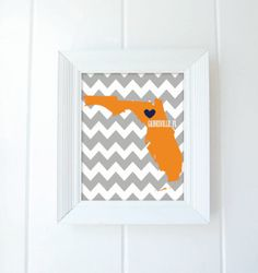 "Florida State Love Map 8x10 Fine Art Print by SouthernSlang, $12.00... Just ordered to hang in my kitchen to coordinate with the ""Gimmie some sugar"" sign... Will look super cute!"