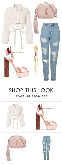"""Untitled #232"" by cxndai ❤ liked on Polyvore featuring Cinq à Sept, Sophia Webster, Yves Saint Laurent, Topshop and Christian Louboutin #nightoutfitantro"