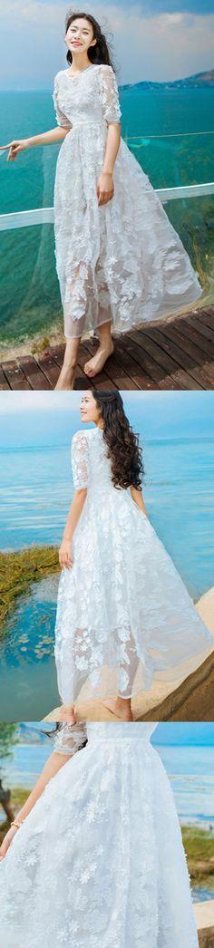 4208feafe5 Elegant white beach dress o neck Half sleeve floor length dress embroidery  design large hem bridesmaid dress
