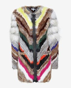 Elizabeth and James Tarra Multi Color Rabbit Fur Zip Jacket, $1,495; intermix.com     - ELLE.com