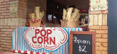 Gorgeous Handpainted Popcorn Banner School Fair, Old School, Popcorn Stand, Paper Shopping Bag, Banner, Neon Signs, Hand Painted, Popcorn Cart, Banner Stands