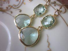 Simply elegant!    Prasiolite Earrings Light Green Earrings  Pacific Aqua by laalee, $32.00