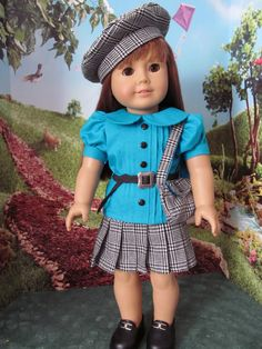 Pleated Skirt, Blouse, Beret, Schoolgirl Outfit, Plaid Skirt, 18 inch Doll Clothes  This listing is for the 4 piece outfit of fitted blouse with