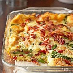 When you're looking for a make-ahead breakfast recipe, you can't beat a strata--a casserole recipe that can usually be made up to 24 hours in advance. Here, fresh vegetables and bacon combine with luscious Swiss cheese for a rich and easy egg breakfast your family will love.
