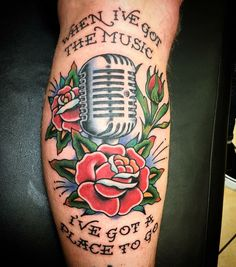Rancid tattoo. Traditional vintage microphone tattoo. Done by Bryan Kienlen from the Bouncing Souls