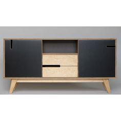 Sideboard HUH aus Holz mit zwei Schubladen, zwei Schränken und einem offenen Fach. Minimalistische Kommode für Esszimmer oder Wohnzimmer im skandi-Look.