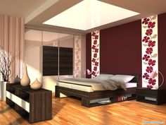 Krásný interiér v jednotném designu - postel, skříň i komoda. www.indeco.cz
