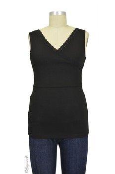 574a9b4de3391 Belle Nursing Cami with Tummy Control in Black with Black Lace Trim Nursing  Cami, Black