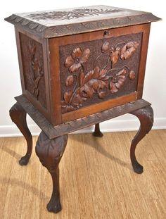 c1880 Aesthetic music cabinet, Cincinnati Art Mvt, wal, 37t, 15-6h.