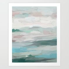 Sage Green Sky Blue Blush Pink Abstract Nature Sky Wall Art, Water Land Painting Print Art Print by Rachel Elise - X-Small Grey Abstract Art, Abstract Nature, Artwork Prints, Framed Art Prints, Painting Prints, Bedroom Artwork, Pink Painting, Green Sky, Gallery Wall