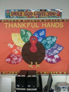 Thanksgiving Bulletin Board Idea. Lots of hands were created to be the feathers. http://hative.com/creative-bulletin-board-ideas-for-kids/