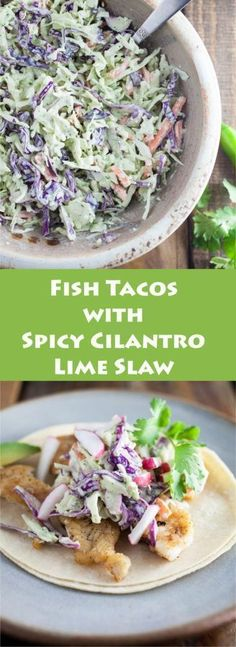Fish Tacos with Spicy Cilantro Lime Slaw - A lightly fried fish taco recipe that features spiced walleye and topped with a tangy cilantro lime coleslaw. Fresh and easy to prepare!