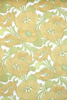 golden yellow and green floral vintage wallpaper, authentic old stock roll of wallpaper from the retro pattern Motif Design, Surface Pattern Design, Retro Pattern, Pattern Art, Retro Wallpaper, Wallpaper Ideas, Retro Design, Flower Wall, 1970s