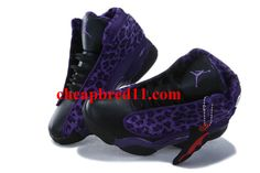 Kids Air Jordan 13 Leopard Black Purple