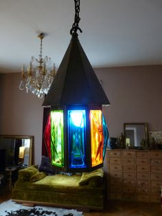 Antique lantern.1950s  french home decor. Color glass plates.