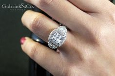 Gabriel & Co.-Voted #1 Most Preferred Fine Jewelry and Bridal Brand.  18k White Gold Cushion Cut Halo  Engagement Ring