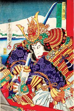 Kunichika Toyoharu / Kawarasaki Sansho als General Minamoto no Yoshitsune Japanese Art Samurai, Japanese Tatoo, Japanese Warrior, Samurai Art, Samurai Warrior, Japanese History, Japanese Culture, Art Vampire, Vampire Knight
