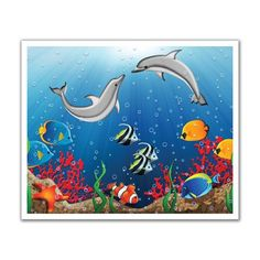 JP London POS2065 Kids Undersea Dolphin Ocean Peel and Stick Removable Wall Decal Mural