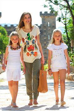 Spanish Queen Letizia and her daughters Princess Leonor (R) and Infanta Sofia (L) visit 'Sierra de Tramuntana' on 11.08.2014 in Palma de Mallorca, Spain.