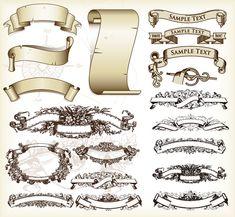Image detail for -ribbon paper vector material european banner ribbon pattern paper ...