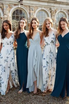 Jenny Yoo Collection 2018 Bridesmaids, featuring romantic long luxe chiffon mismatched styles with flutter sleeves, halters and v-necks and above the knee skirt slits. These bridesmaids dresses shown in shades of blue as well as solids and tropical prints with light and deep blue and green floral details which are perfect for a classic, timeless and elegant mix n match bridal party for a spring, summer, fall or winter wedding. #WeddingIdeasGreen