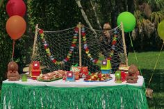 Tiki party fish net decor...us for pictures and clothes pins to hold.