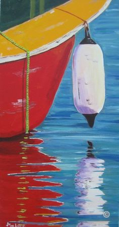 """The Red Boat    by Judy MacIntosh. repinned by Splashduck oct.17,2012 via Linda Daley's board """"Other art"""""""
