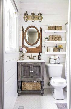 Small Master Bathroom Makeover on a Budget - small master bathroom budget makeover, bathroom ideas, diy, home improvement - Bathroom Vanity Decor, Bathroom Windows, Wood Bathroom, Bathroom Styling, Master Bathroom, Bathroom Red, Bathroom Stuff, Bathroom Lighting, Bathroom Colors