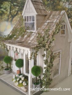 My Anthropologie inspired dollhouse is done. It was a lot of fun to make! … My Anthropologie inspired dollhouse is done. It was a lot of fun to make! I found the topiary trees at Michaels craft store.
