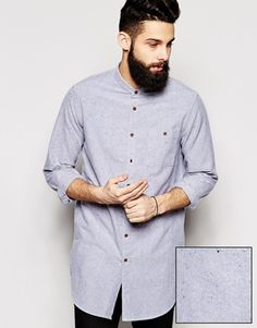 ASOS Oxford Shirt In Super Longline With Grandad Collar And Neps