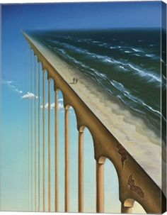 Surrealism Art by surrealist artist charnine - similar to dali, magritte This piece shows how a simple beach scene can be completely changed with the placement and use of the sky and columns. Rene Magritte, Fantasy Kunst, Fantasy Art, Art Du Monde, Vladimir Kush, Magic Realism, Surrealism Painting, Art Moderne, Surreal Art