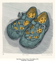 Vanessa Lubach ~ Blue Shoes ~ Linocut, 17 x 17 cm