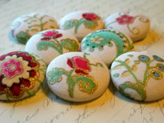 Buttons  Whimsical Flowers FabricCovered by NotSoShabbyChic, $8.00