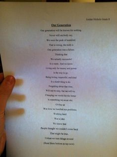 poem written by 14 year old! This is AMAZING! You..and everyone else should take the moment to read this.
