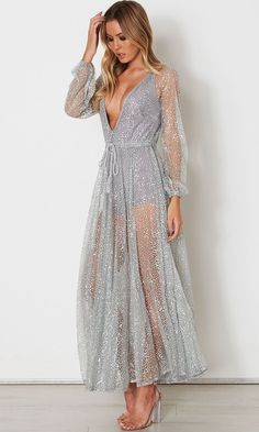 ae64216b505 Get Up And Glimmer Sheer Mesh Glitter Long Sleeve Plunge V Neck Maxi Dress  - 2