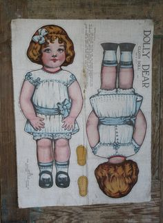 1918 Saalfield UNCUT Cloth Doll Panel -- Dolly Dear