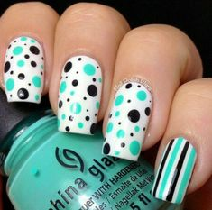 Nails green #chinaglaze #dottedmnai #stripes #nailart - bellashoot.com