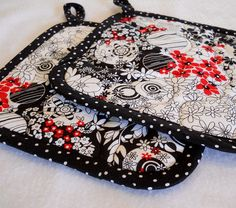Handmade Hot Pads and Kitchen Towel Set- Black, White, Red by Geneva Designs, via Flickr  --how cute is this??