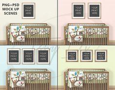 Kids Room Interior #6 Set of Portrait & Square Wooden Matted Frames, Nursery Wooden Baby Crib 8x10 16x20 24x30 Print Display Interior Mockup