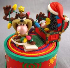 Looney Tunes Tangled Up For Christmas Vintage Music Box Holiday Taz 1997 Musical