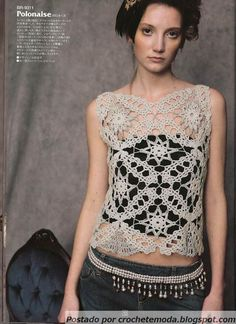 crochet lace motif top - free pattern
