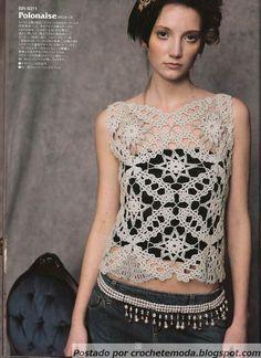 crochet lace motif top - free pattern