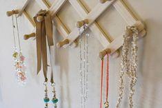 25 Creative Necklace Organization Ideas — the thinking closet Antler Jewelry Holder, Jewelry Rack, Hanging Jewelry, Jewellery Storage, Jewellery Display, Jewelry Organization, Organization Ideas, Storage Ideas, Jewellery Stand