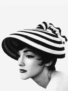 Elegantly shaped black & white hat by Balenciaga
