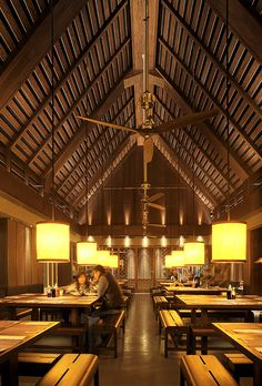 From the Restaurant and Bar Design Awards It's simple and elegant _ the high ceiling and the wooden furniture and the room come alive